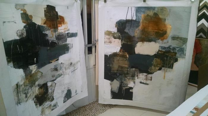 Two abstract paintings from Kelsey Keller and Assoc.